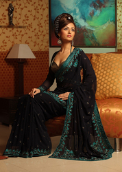 Fancy Embroidery Work Sarees