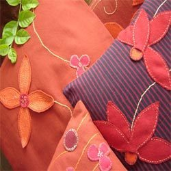Applique Felt Flower Cushion Covers