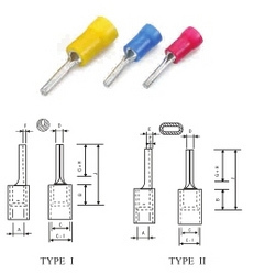 Copper Insulated Pin Type Cable Terminal Ends