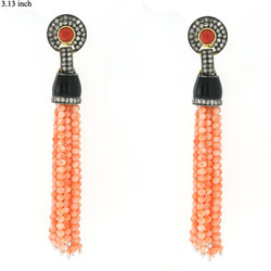 Coral Stone Tassel Earrings