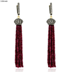 Pave Diamond Designer Gold Tassel Earrings