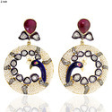 Rounded Peacock Style Women's Pearl Earrings