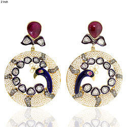 Rose cut Diamond Peacock Earrings