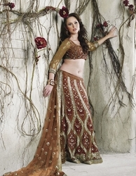 Sareegalaxy -  Brown Faux Georgette Lehenga Style Saree With Blouse