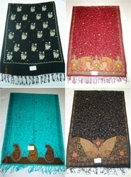 Silk Pashmina Hand Embroidered Shawls Stoles and Scarves