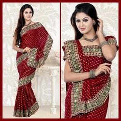Maroon Viscose Saree With Blouse (91)