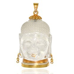 Buddha Pendant Crafted On White Crystal