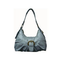 Dark Silver Leather Ladies Handbag