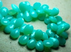 Electric Blue -Aqua Chalcedony Faceted Heart Briolette