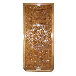 Carved Radha Krishna Wooden Doors