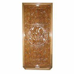 Carved Radha Krishna Wooden Doors