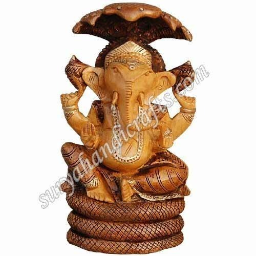 Wooden Ganesh With Antic Work