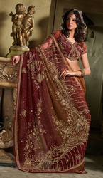 Merlot Peart Georgette Wedding Saree With Designer Work