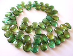 Green Apatite Smooth Polished Pear Shape Beads