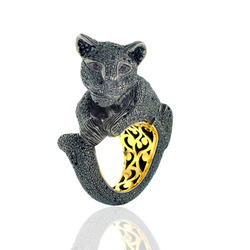 Cat Shaped Black Diamond Rings