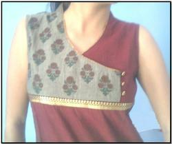 Bagru Chicken Work Booti Kurtis