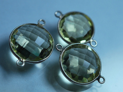 Lemon Quartz Faceted Coins Silver