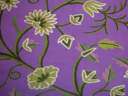 Crewel Fabric Grapes Purple Cotton Duck