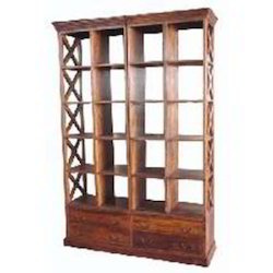 Open Bookcase with Wooden Cross Sides