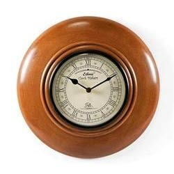 Wood Wall Clock Round Brown