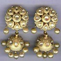 Gold Kundan Meena Diamond Earrings