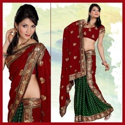 Maroon And Deep Green Viscose Saree With Blouse (143)