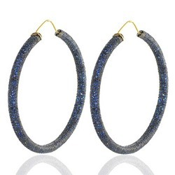 Blue sapphire studded Hoop Earrings
