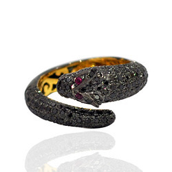 Pave Diamond Snake Rings