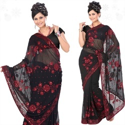 Black Faux Georgette With Blouse