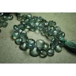 Moss Aquamarine Faceted Heart Briolettes