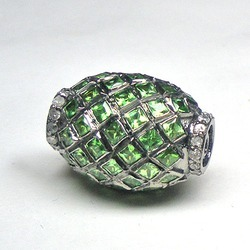 Diamonds and Tsavorite Pave Set Beads