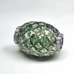 Diamonds and Tsavorite Pave Set Beads