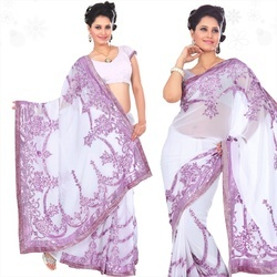 Off White Faux Georgette Saree With Blouse