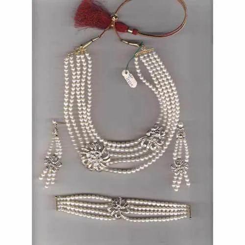 Pearl Necklace Rhinestone Bracelet by HMbySemraAscioglu on