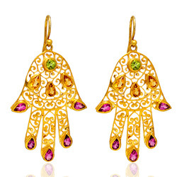 14k Gold Gemstone Hamsa Earrings