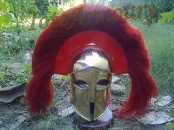Armour Spectacle Brass With Red Plume Helmet