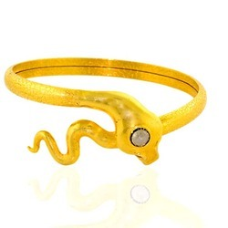Snake shaped Gold Bangle with Diamond Eyes