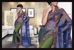 Blue Green Designer Saree