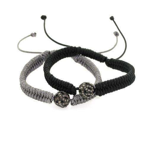 Sterling Silver Diamond Bead Macrame Bracelet