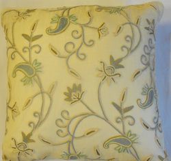 Crewel Pillow Almond RawSilk Silk Organza