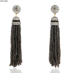 Designer smoky Quartz Tassel Earrings