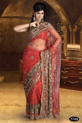 Party Wear Red Sarees