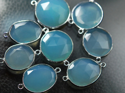 Blue Color Chalcedony Faceted Slice Silver