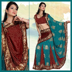 Maroon And Teal Faux Georgette Lahenga Style Saree (155)