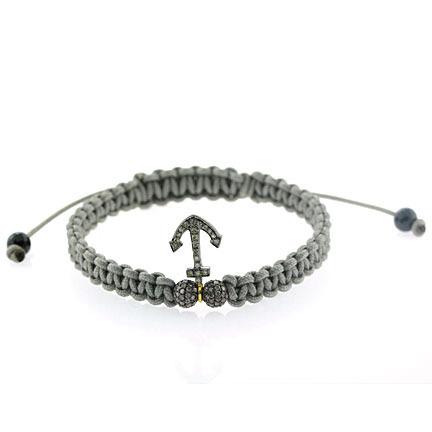 Diamond Anchor Charm Macrame Bracelet
