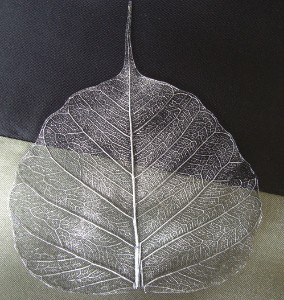 Silver Metallic Skeleton Leaves