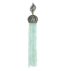 Aquamarine Diamond Tassel Pendants