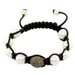 White Pearl Diamond Bead Macrame Bracelets