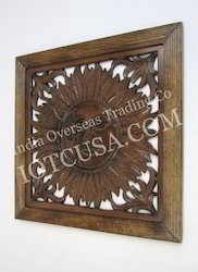 Carved Wooden Sun Wall Hanging