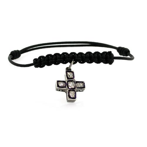 Rose Cut Diamond Cross Macrame Bracelet